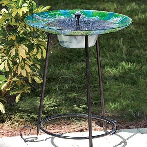 Argus Peacock Glass Solar Bird Bath Fountain by Smart Solar by Smart Solar