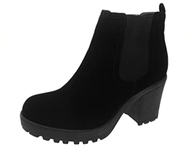 Lora Dora Womens Chunky Block Heel Chelsea Boots  Amazon.co.uk ... edca96fabc58