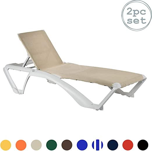 Tumbona Marina Resol/cama - marco blanco con crema/lona Natural Material - 2 tumbonas supabrands: Amazon.es: Jardín