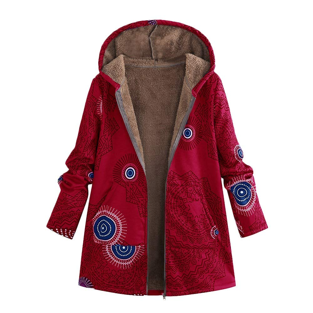 Womens Hooded Winter Warm Coats Vintage Floral Printed Parkas Casual Oversize Outwear Lightweight Jackets Pockets