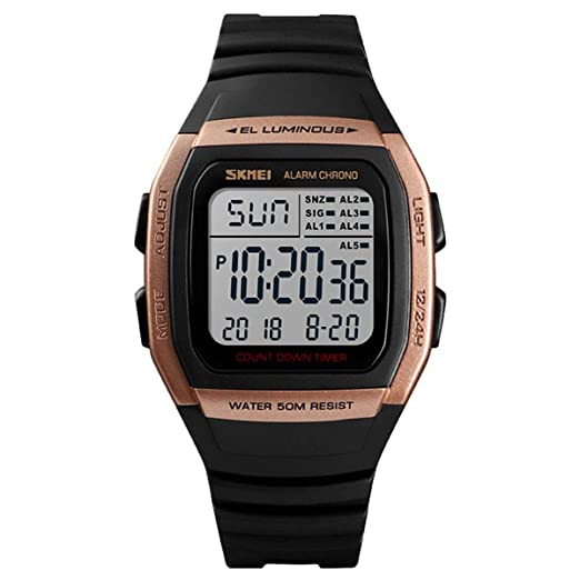 LONGQI - Reloj Digital Deportivo para Hombre, Resistente al Agua, Rectangular, con Alarma