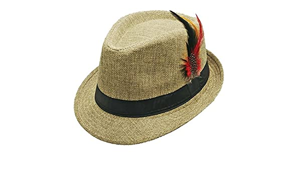 Vintage Canvas Fedora with Leather Band and Feathers Small