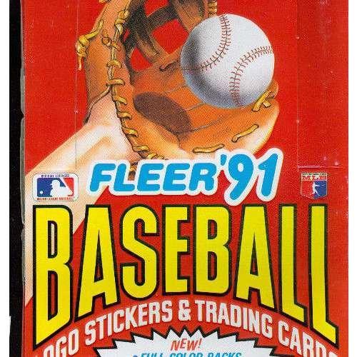 1991 Fleer Football - 1991 Fleer Baseball Card Set Wax Pack Box FROM CASE
