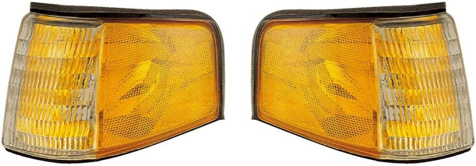 replaces F23Z 13201A F23Z 13200A For 1988-1994 Ford Tempo Pair Park Lights Driver and Passenger Side Assembly Unit FO2520110 FO2521108