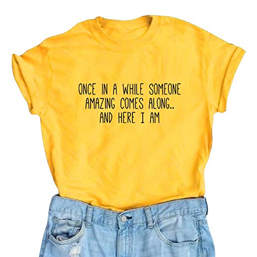185143dfc6fd BLACKMYTH Women's Graphic Funny T Shirt Cute Tops Teen Girl Tees Yellow  Small