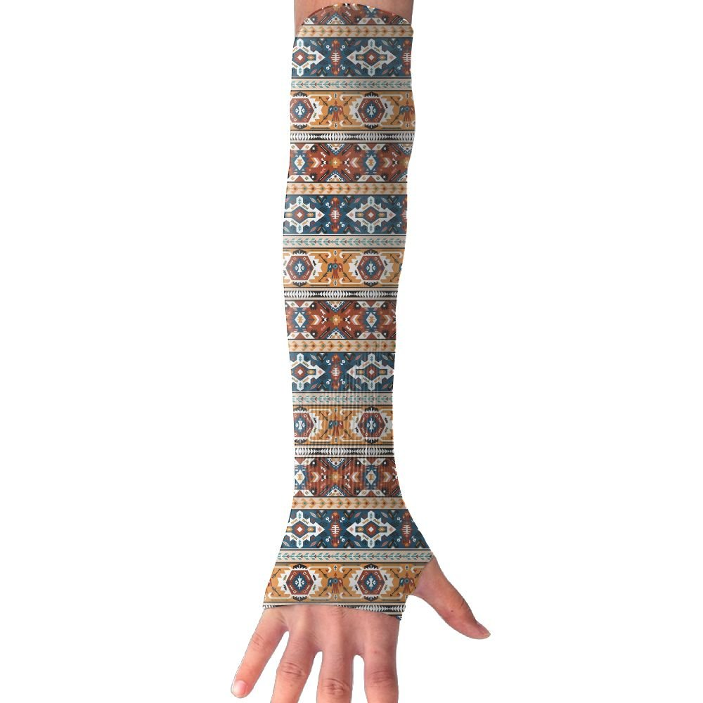 Suining Unisex American Style Ethnic Stripe Sunscreen Outdoor Sports Arm Warmer Long Sleeves Glove