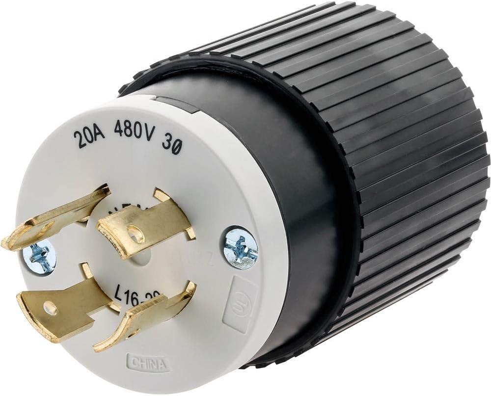 Hubbell T28435 30 Amp 480V NEMA L16-30 3-Phase Twist Lock Plug
