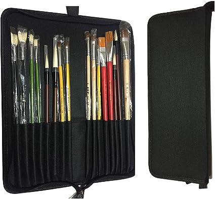 Estuche para lápices con 18 compartimentos, de lona, con cremallera, para pintar bolígrafos, pinceles y pinceles: Amazon.es: Oficina y papelería