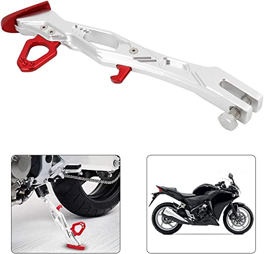 Suuonee Motorcycle Side Stand,Motorcycle Aluminum Alloy Side Stand Tripod Frame Parking Feet Kickstand B05026 Red