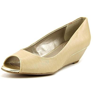 Alfani Cammi Women US 7.5 W Nude Peep Toe Wedge Heel 9caad6f1193f