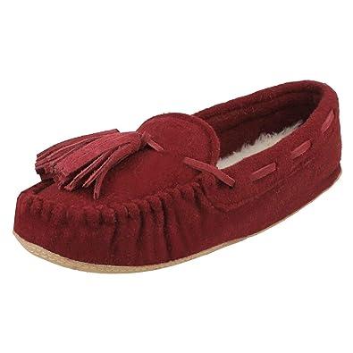 e8b44cc6 Clarks Ladies Moccassin Style Slippers Cozily Comfy - Burgundy Textile - UK  Size 3D - EU