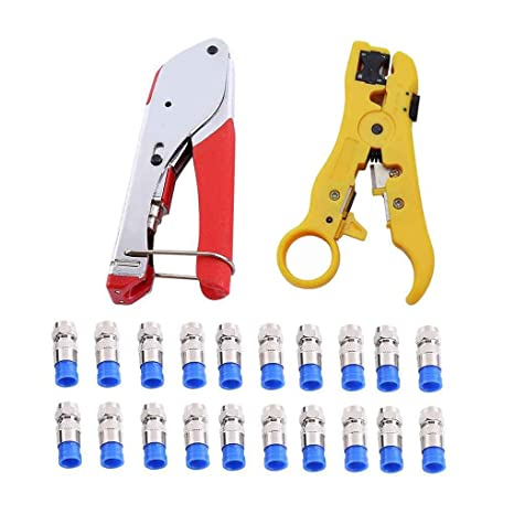 Xuanhemen F Head Press Plier Crimping Pliers Coaxial Cable Wire Kit Crimping Tool Crimper Alicate Stripping Spanner Seperator Set - - Amazon.com
