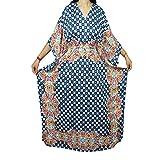 Mogul Womens Caftan Kimono Sleeves Printed Cover Up Kaftan Boho Beach Dress