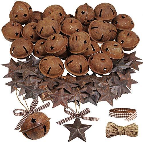 Winlyn 80 Pcs Rusty Metal Christmas Sleigh Bells Jingle Bells Rustic Craft Bell 1-1/2