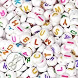 "JPSOR600pcs 4*7mm Acrylic White Oblate Shape Letter Beads ""A-Z"" with Colorfful Letters, with 2pcs White Beading Threads & 1 Grey Non-woven Pouch"