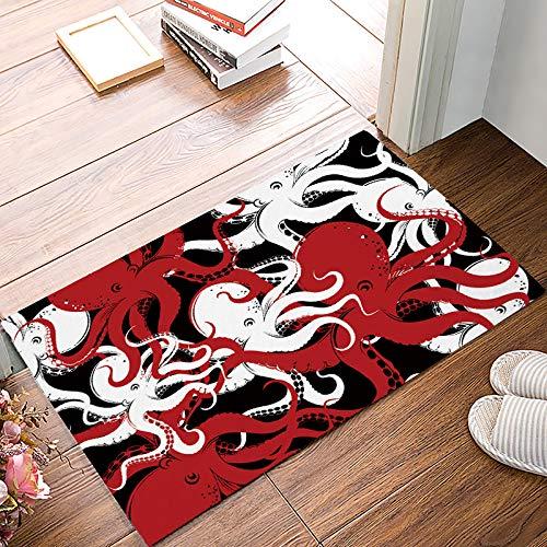 Welcome Doormats Rubber Non-slip Floor Mat Rugs for Entrance Way/Indoor/Front Door/Bathroom/Kitchen, Shoe Scraper Carpet 32 x 20 Inch Marine Life Abstract Ocean Octopus Print Black Red and White]()