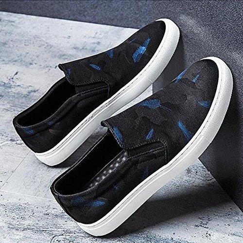 QIDI Chaussures Décontractées Homme Respirant Fond Plat Antidérapant Noir Impression Chaussures De Toile (Couleur : T-2, Taille : EU43/UK9) T-1