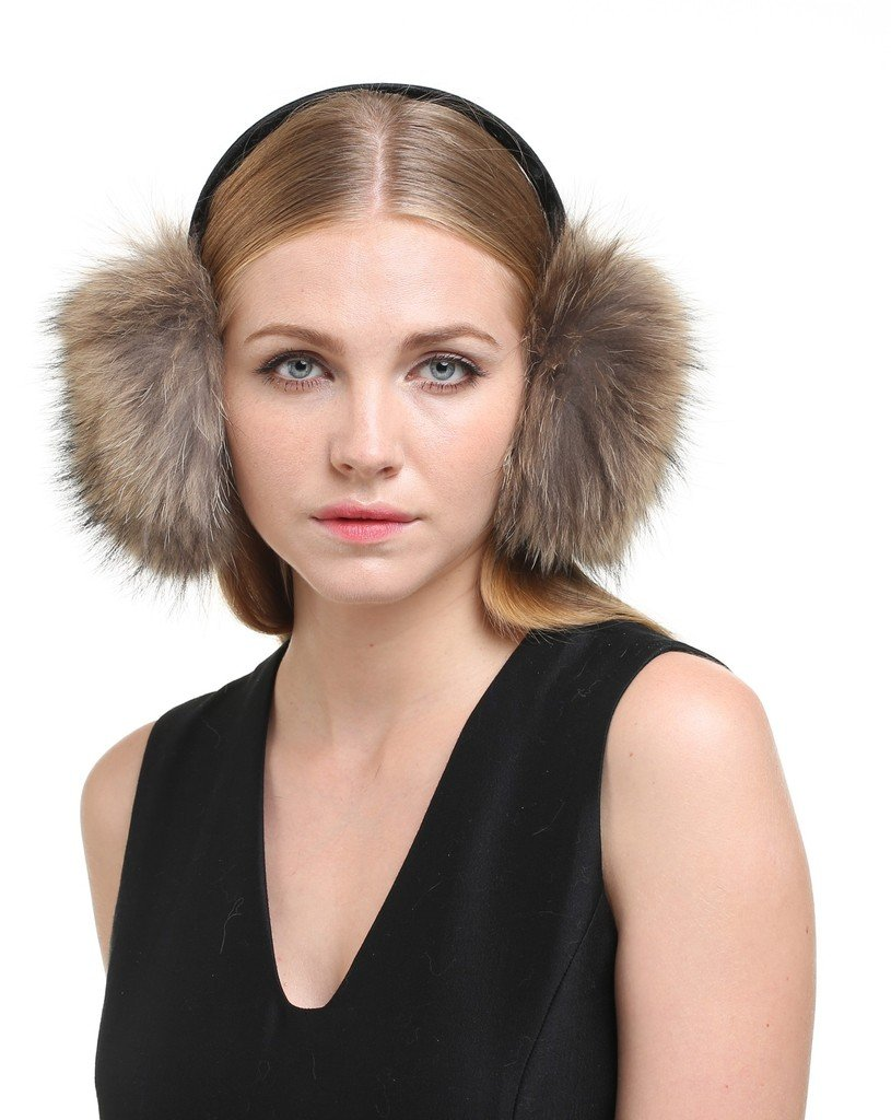 Vogueearth Women 2 Material Choose Winter Fur Earmuffs Raccoon Nature