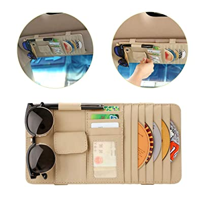 Lelance Visor Organizer, Car Luxury Sun Visor Cd Case, Leather Sun Shade Wallet Pocket, Multifunctional Sun Visor Holder, Car Accessories for Personal Belonging Documents (Beige Car Visor Organizer): Automotive