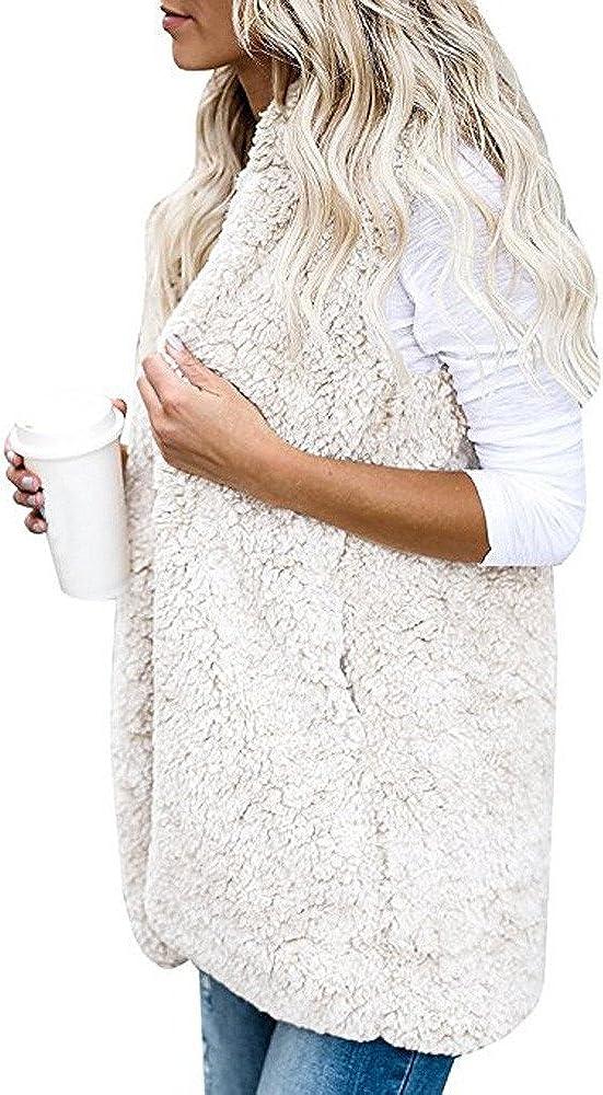 KaloryWee Womens Faux Fur Gilet Hooded Warm Teddy Bear Vest Waistcoat Sleeveless Sherpa Jacket Gilet Coat Cardigan