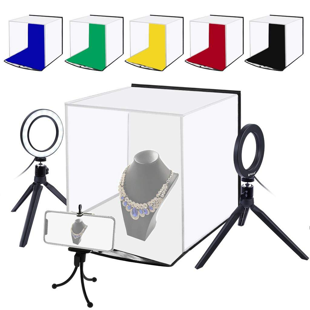 Folding Studio,Eoeth PULUZ Fat Cow Portable Softbox LED Photo Lightbox for Tabletop Photography LED Lighting Box Simple Folding Studio Set with 6-Color Background Cloth by Eoeth