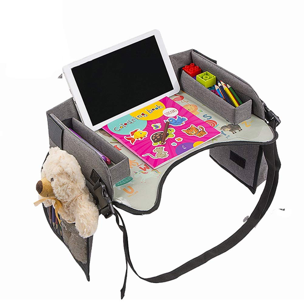 Lap Tray Stroller and Airplane Traveling Activity Tray Kids Travel Tray with Erasable Surface for Car Seat Infant and Toddler Snack and Play Tray Table Tray with Mesh Organizer and Cup Holder