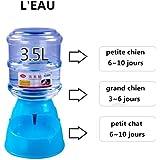 Nibesser Distributeur Eau et Aliments Automatique pour Chien et Chat Capacite 3.5 L Bleu