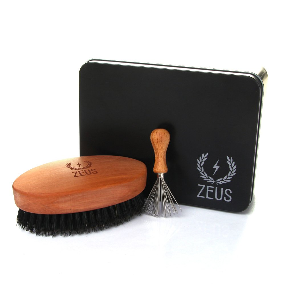 Zeus Palm Military-Style 100% Firm first- Cut Boar Bristle Beard Brush Set with Beard Brush Cleaner and Tin