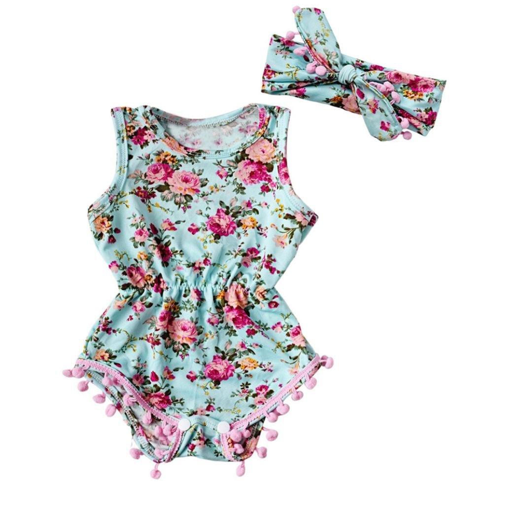 SMARTLADY Flores Estilo Romper para Niña Bebé Vestido con una Banda de Cabeza SD45