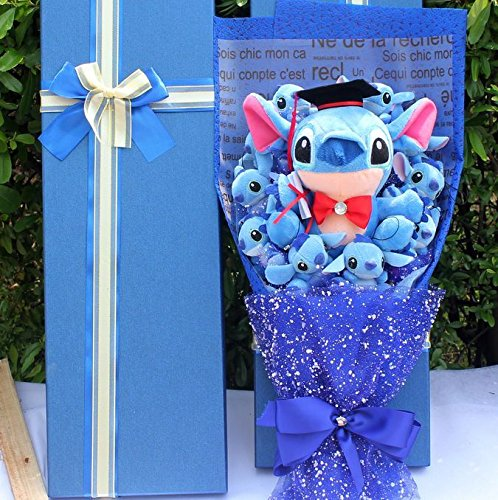 Kawaii Lilo Stitch Soup Flower Plush Toy Anime Lilo and Stich Soft Stuffed Animal Doll Romantic Valentine's Gift no box (2)]()