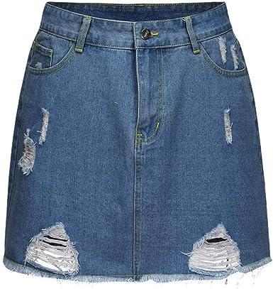 FELZ Falda Vaquera Mujer Falda Mujer Corta Falda Minifalda de ...