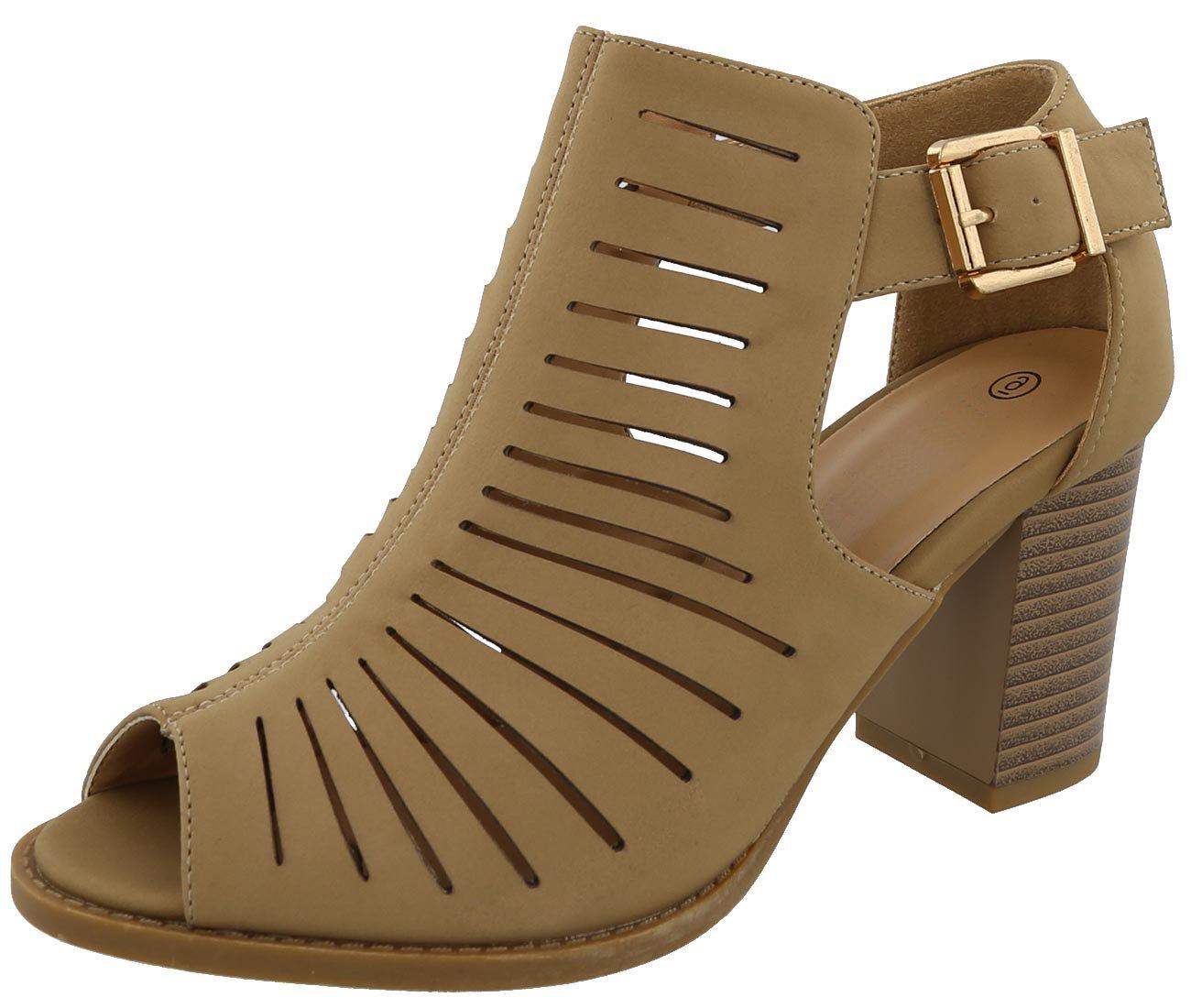 Cambridge Select Women's Peep Toe Caged Laser Cutout Chunky Stacked Block Heel Ankle Bootie,8.5 B(M) US,Tan NBPU