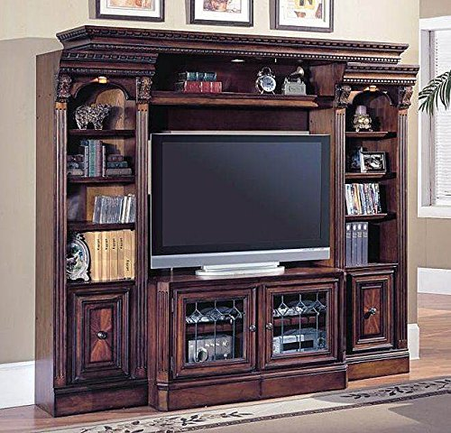 4 Pc Entertainment Center Wall w Expandable Console - Huntington (Expandable Center Entertainment Console)