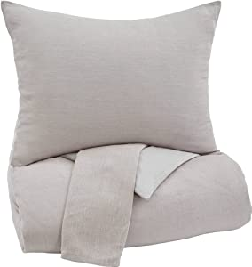 Ashley Furniture Signature Design - Bergden Duvet Cover Set - Includes Duvet & 2 Shams - Queen Size - Light Gray