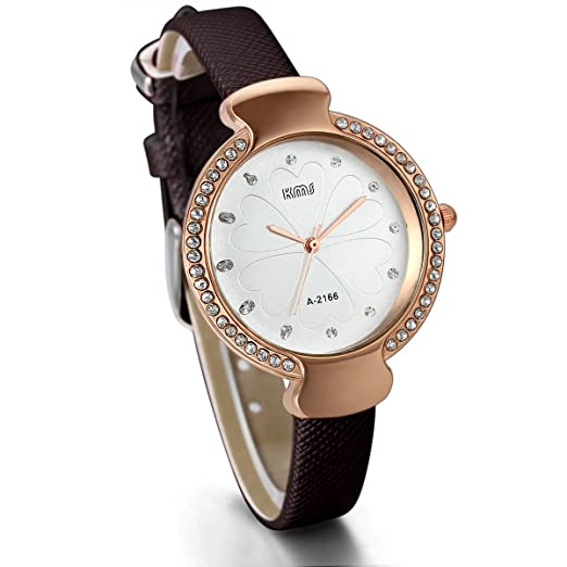 Amazon.com: JewelryWe Fashion Rose Gold Tone Case Heart Pattern Dial Leather Strap Womens Watch (Brown): Watches