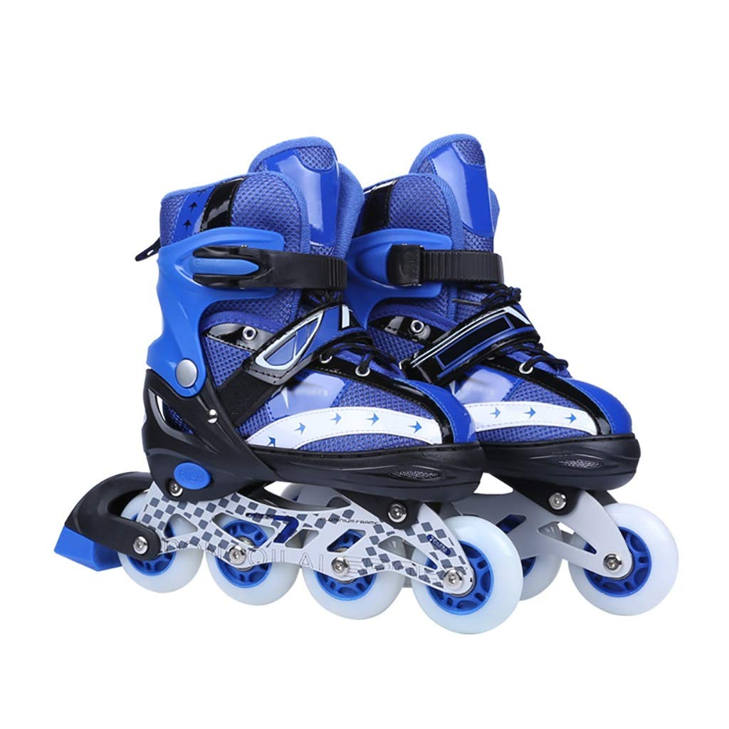 男の子 女の子 発光 贈り物向け Inline Skate ,サイズ調整可能子ども初心者用ポータブルローラースケート, ジュニアフィットネスタイプ屋内インラインスケート (Color : 青, Size : S-EU(31-34)) 青 S-EU(31-34)