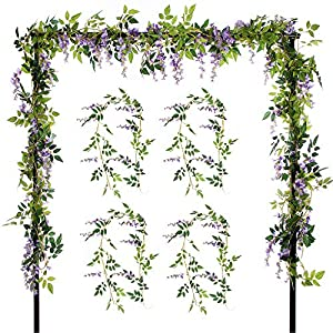 Felice Arts 2 Pcs Artificial Flowers 6.6ft/Piece Silk Wisteria Ivy Vine Green Leaf Hanging Vine Garland for Wedding Party Home Garden Wall Decoration 9