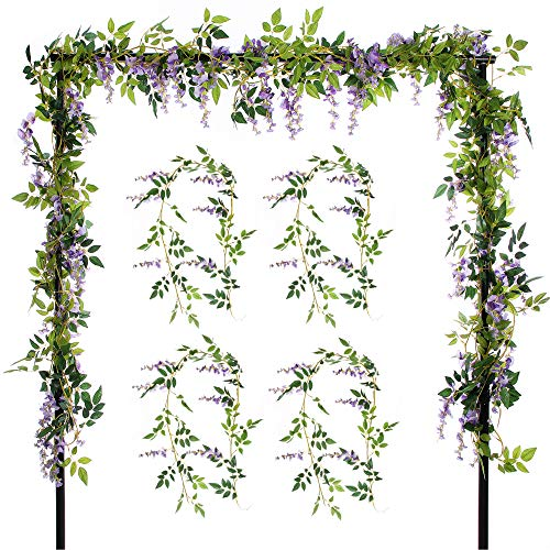Felice Arts 4 Pcs Artificial Flowers 6.6ft/Piece Silk Wisteria Ivy Vine Green Leaf Hanging Vine Garland for Wedding Party Home Garden Wall Decoration, Purple