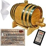 Oak Aging Barrel From American Oak Barrel - Age Your Own Spirits (2 Liter, Natural Oak With Black Hoops)