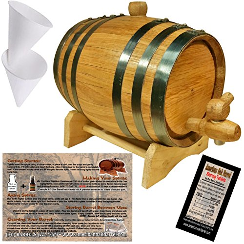 Oak Aging Barrel From American Oak Barrel - Age Your Own Spirits (5 Liter, Natural Oak With Black Hoops) by American Oak Barrel (Image #1)