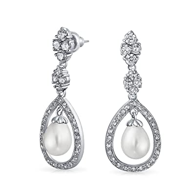 e1fb51805 Amazon.com: Bridal Cubic Zirconia Pave Halo CZ Teardrop White Simulated  Pearl Dangle Earrings For Women For Prom Silver Plated Brass: Dangle  Earrings: ...