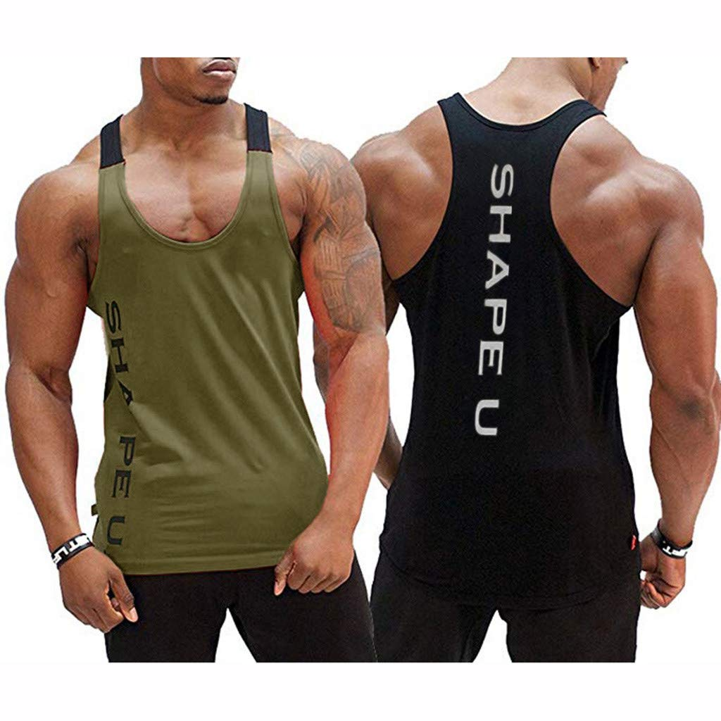 Summer Men's Sleeveless Fashion Letter Print Color Block Vest T-Shirt Bodybuilding Fitness Vest Asiebiul (Army Green,L) by Asibeiul men clothes (Image #4)