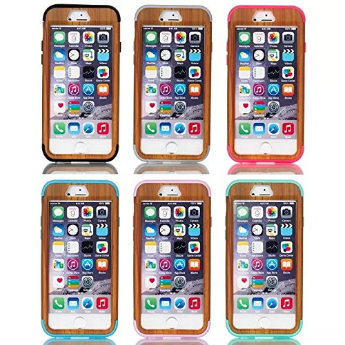 iPhone 6 Case , iPhone 6S Case, Lantier antichoc Case hybride triple couche de protection en plastique dur avec Housse silicone souple pour Apple iPhone 6 / 6S 4,7 pouces (Motif Bois Hot Pink)