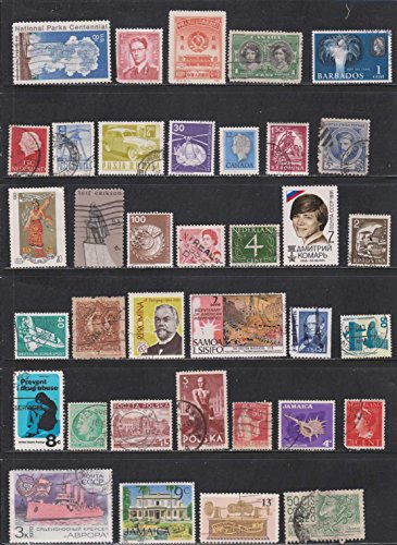 Romania United States Jamaica Canada Poland Germany China Barbados Cancelled Postage Stamps