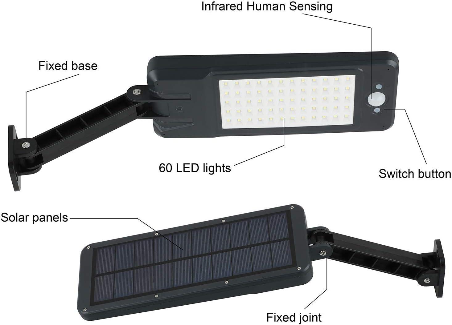 1PCS 56 LED Solarlampen f/ür au/ßen GEYUEYA Home Solar Lampe 56 LED Solar Wandleuchte Solarbewegungs-Sensor-Sicherheits-Lichter IP65 wasserdicht Wand-Lichter mit drehbaren installierten Stents