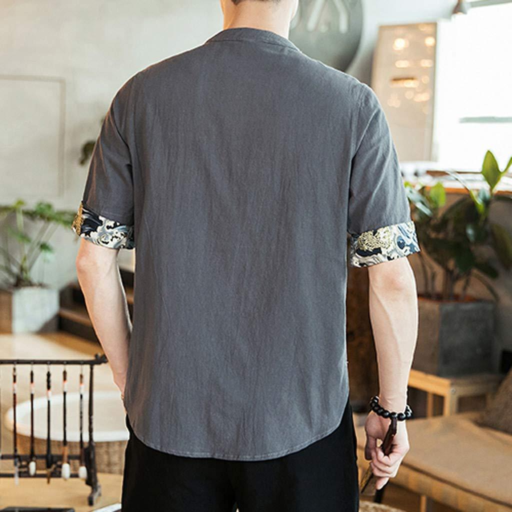 Men Linen Shirt,Mandarin Collar Half Sleeve Solid Color Frog Button Front Loose Fit Blouse T Shirt