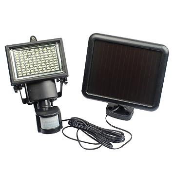 UEB 100 LED funciona con energía solar sensor de movimiento PIR luz de seguridad jardín Lámpara
