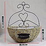 EXDJ Handmade straw-hanging flower basket Wicker Flower pot living room wall Decorations,B