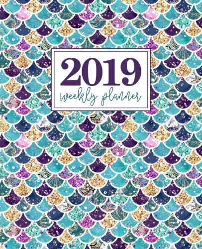 """2019 Weekly Planner: Portable Format 7.5""""x9.25"""" (19x23cm) Weekly & Monthly Planner: 12 Months: Teal Purple & Gold Mermaid Scales 5623"""