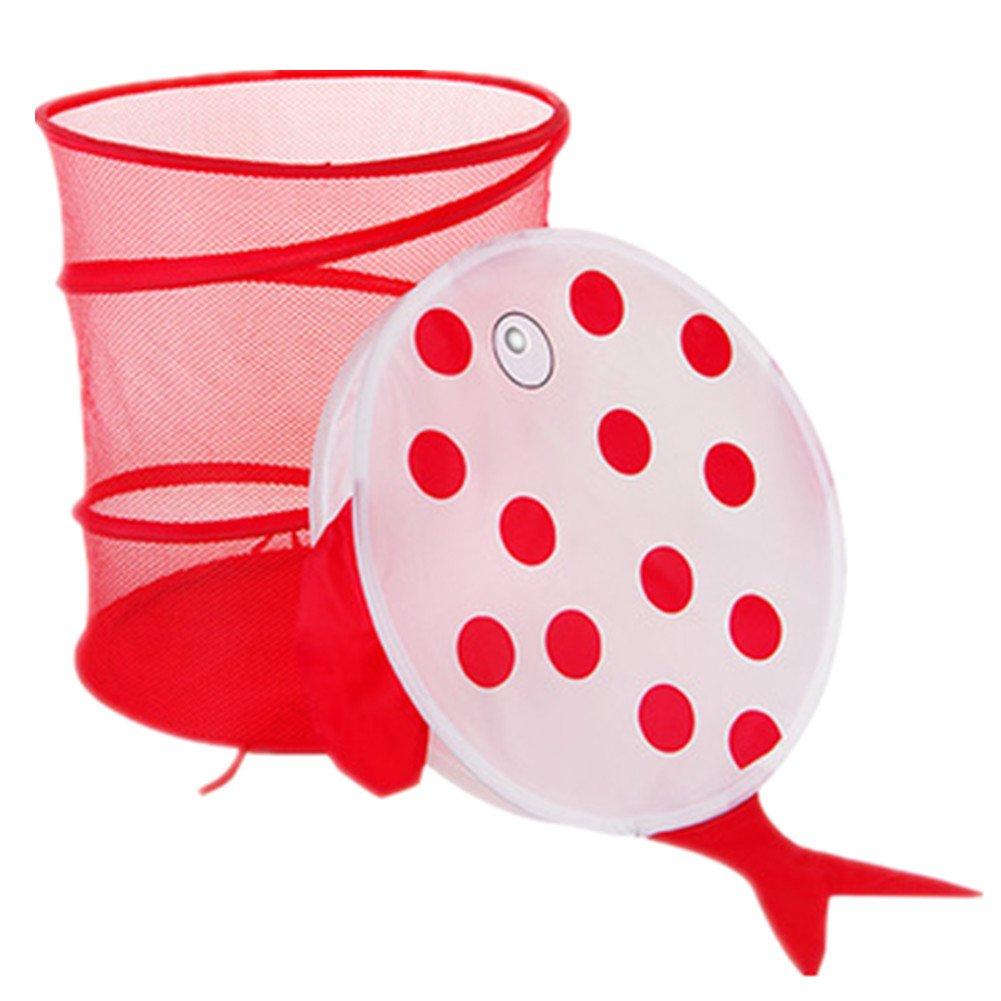 Ekea-Home Mesh Dustproof Cartoon Foldable Laundry Basket Animal Storage Bag Clothes Hamper Kid Toy Storage Red Fish